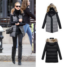 Women Winter Hooded Houndstooth Warm Coat Cotton Down Jacket Faux Fur Collar Top