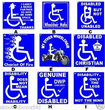 NEW WHEELCHAIR/VEHICLE DISABILITY STICKERS NON FADE PEEL & STICK.