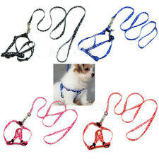 Adjustable Small Pet Dog Puppy Cat Kitten Rabbit Nylon Harness Collar Leash Lead