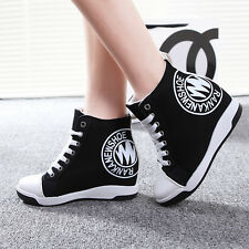2014 New Casual Womens High Top Canvas Lace Up Wedge Heel Sneakers Shoes US4.5-8
