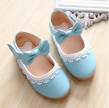 2014 NEW Fall Kids Toddler Girls Sweet Lace Princess Bow Leather Flats Shoes