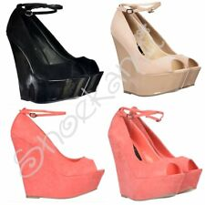 Womens Peep Toe Wedge Ankle Strap Suede Patent High Heel Black Nude Coral Size