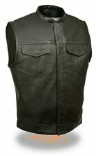 MEN'S SON OF ANARCHY LEATHER MOTORCYCLE VEST 2 GUN POCKETS INSIDE SNAP CLOSURE