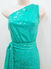 Calvin Klein Green Teal Sequins One Shoulder Stretch Cocktail Dress NWT