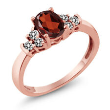 0.75 Ct Oval Red Garnet White Diamond 925 Rose Gold Plated Silver Ring
