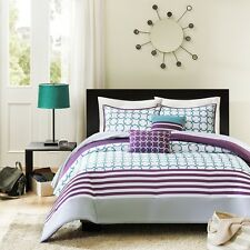 NEW Bed Bag Twin XL Full Queen 5 pc Purple Teal White Stripe Comforter Set NWT