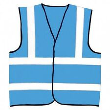 Sky Blue Safety Reflective Hi Visibility Vest 6 Sizes Riding Events