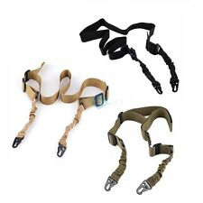 Adjustable Tactical 2 Dual Two Point AR Rifle Gun Sling Bungee Strap