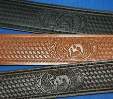 Wolf Scene Bridle Leather Belt Hand Made Real Leather Crafted in England
