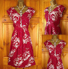 NEW WHITE STUFF RED IVORY WHITE FLORAL SUMMER TUNIC TEA DRESS VINTAGE 50s STYLE