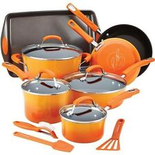 Cookware Set Rachael Ray Hard Enamel Nonstick Pots and Pans 14-Piece Commercial