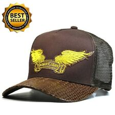 Robin's Jean Trucker cap hat Artificial Leather Adjustable Brown Gold wing REAR