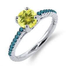 1.22 Ct Round Canary Mystic Topaz Blue Diamond 925 Sterling Silver Ring