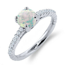 0.87 Ct Round White Simulated Opal White Diamond 925 Sterling Silver Ring