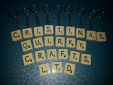 ORIGINAL SCRABBLE TILE PERSONALISED LETTER KEYRING *ANY LETTER* CUTE JEWELLERY