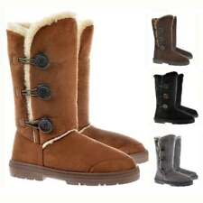 LADIES WOMENS 3 BUTTON ELLA FUR WINTER SNOW BOOTS THICK WATERPROOF SOLES SIZE3-8