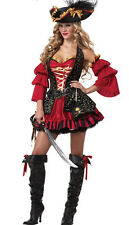 Red Sexy Plus Size Women Vixen Pirate Wench Halloween Costume Fancy Dress Outfit