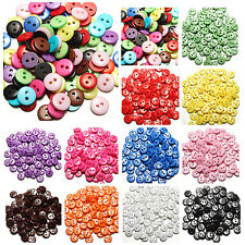 100~200 pcs Resin Buttons Mixed Colors Craft Crapbook Sewing 8 mm 2 Holes Round