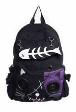Girls Emo Gothic Banned Animal Cat Kitty Speaker Rucksack Backpack School Bag