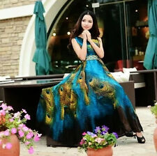 Peacock Boho Long Beach Dresses Maxi Evening Party Summer Chiffon Dress