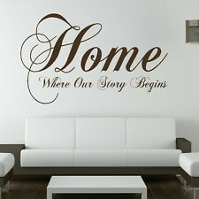 HOME WHERE OUR STORY.. wall quote transfer graphic vinyl large sticker niq7