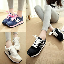 Women Fashion Sport Sneakers Letter N Suede Casual Platform Flat Running Shoes