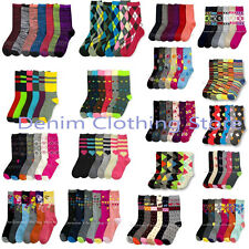 6~12pairs Women Crew Winter Argyle Stripe Spandex Socks Girl Wholesale Lot 9-11