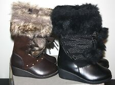 NEW Toddler Girls Fiona Faux Fur trimmed Canyon River Blues boots brown/black