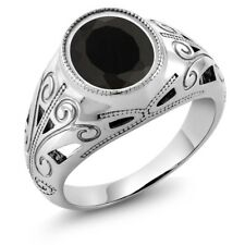 4.29 Ct Natural Oval Black Onyx 925 Sterling Silver Men's Ring