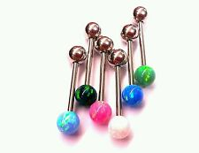 Tongue Ring Jewelry Piercing Sexy 14g Barbell Bar SIMULATED FIRE OPAL GORGEOUS