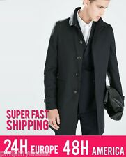 ZARA MENS | STRAIGHT TRENCHCOAT | 7179/301 BNWT | NAVY BLUE 2014 COLLECTION
