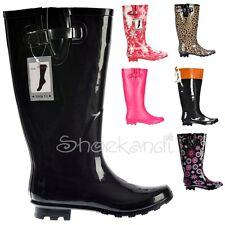 Womens Extra Wide Calf Flat Wellie Wellington Festival Rain Boots All Colours
