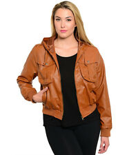 Judy Blue Faux Leather Motorcycle Jackets With Hood  Pockets Plus Size 1XL- 3XL