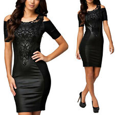 Women Sexy Dress Fashion Slim Leather Lace Party Cocktail Club Evening Dress