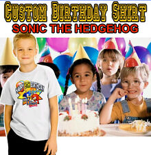 SONIC THE HEDGEHOG Custom Personalized Birthday Printed T-shirt also in PINK