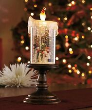 LED LIGHTED CHRISTMAS HOLIDAY CANDLE SNOW GLOBE FLAME FLICKERS SNOWMAN or SANTA