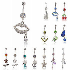 Crystal 316L Surgical Steel Sexy Lips Curved Navel Bar ♥ PLUS FREE BAR & POUCH ♥