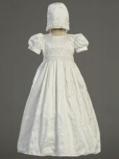 Infant Girls Christening Baptism Gown & Bonnet White Silk w/ Lace Accents