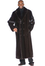 Mens Ranch Mink Coat Double Breasted Black Mink
