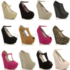WOMENS LADIES HIGH HEEL PLATFORM MARY JANE WEDGE ANKLE STRAP PEEPTOE PARTY SHOES