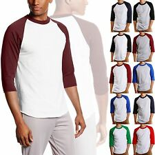 3/4 Sleeve S-3XL Plain BaseBall T-Shirts Raglan Jersey Vintage Tee Men's Newly