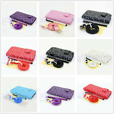 Bling Diamond Leather Flip Pouch Wallet Stand Case Cover For Samsung iPhone HTC