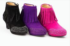 Girls Youth Toddlers Pageant Party Dress fringe Bootie Purpel fuchsia black