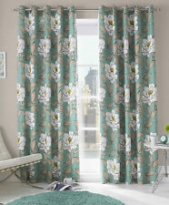"""RING TOP FULLY LINED PAIR EYELET READY MADE CURTAINS """"ISSY AQUA"""""""