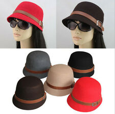 Fashion Lady Women Cloche Wide Brim Bowler Fedora Wool Felt Hat Bucket Cap New