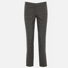 RIVER ISLAND NEW WOMENS GREY CHECKED TARTAN STRAIGHT LEG SMART TROUSERS    8-16