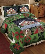 GINGERBREAD CANDY CANE CHRISTMAS TREE QUILT COMFORTER PILLOW SHAM SNOW MAN New