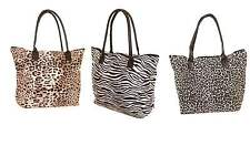 Ladies Animal Print Canvas Shoulder Bag Carrier Shopping Beach Tote Bag