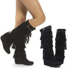 Black Fringe Stud Strap Buckle Moccasin Med High Heel Hidden Wedge Boots US 5-11