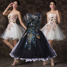 CHEAP Peacock Embroidery Prom Cocktail Wedding Bridesmaid Homecoming Mini Dress